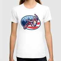 snowboard T-shirts featuring American Snowboarder Jumping Snowboard Retro by patrimonio