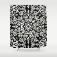 folk Shower Curtains featuring Black & White Folk Art Pattern by micklyn