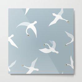 Flying Swans Larger Pattern Metal Print