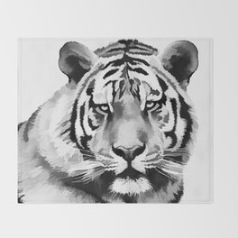 Tiger Black and white Throw Blanket