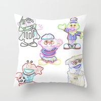 sesame street Throw Pillows featuring Sesame Street  by Beastie Toyz