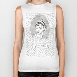 Jane Austen author portrait with Pride and Prejudice quotes Biker Tank