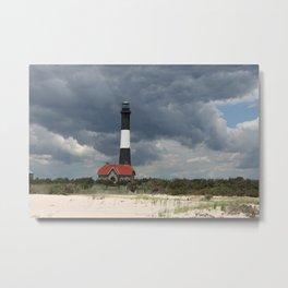 Dramatic Sky Over Fire Island Light Metal Print