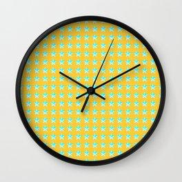 green star pattern on yellow Wall Clock