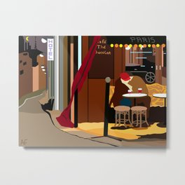 Romance Outside the Paris Cafe Metal Print