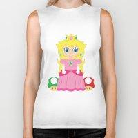 princess peach Biker Tanks featuring Princess Peach by Xiao Twins