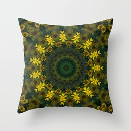 Large Yellow Wildflower Kaleidoscope Art 9 Throw Pillow