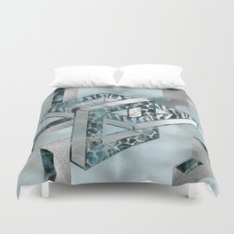 Abstract 3D Geometric Labradorite on Mother of pearl Duvet Cover
