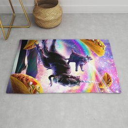 Laser Space Cat On Rainbow Dinosaur Unicorn - Taco Rug