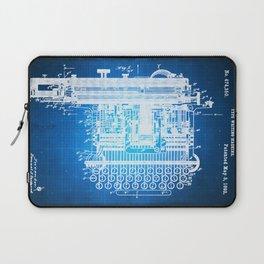 Type Writing Machine Patent Blueprint Drawing Laptop Sleeve