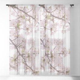 cherry blossom flowers Sheer Curtain