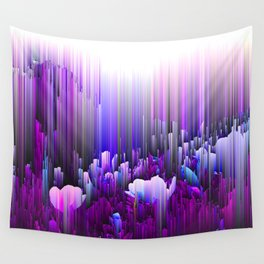 Rain of Lavender - Glitched Abstract Pixel art Wall Tapestry