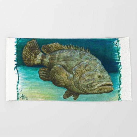 Goliath Grouper ~ Watercolor Beach Towel