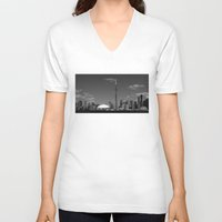 skyline V-neck T-shirts featuring Toronto Skyline by Christophe Chiozzi