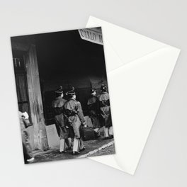 Police officers in training | The beautiful city of Florence | Square Santo Spirito, Florence | Analog photography black and white art print Stationery Cards