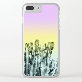 Cactus in violet, green and yellow Clear iPhone Case