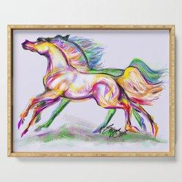 Crayon Bright Horses Serving Tray