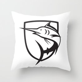 Blue Marlin Jumping Crest Black and White Throw Pillow