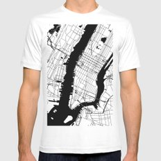 New York City Minimal Map White Mens Fitted Tee MEDIUM