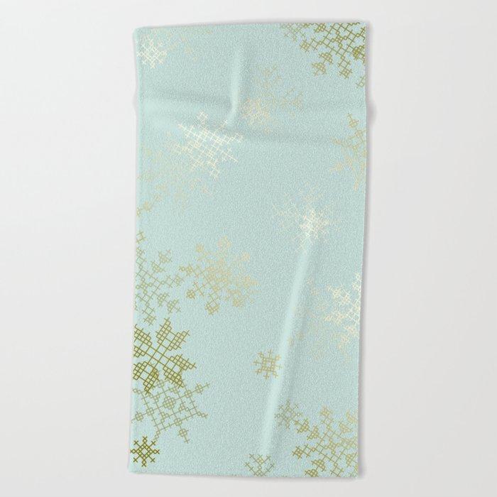Gold Snowflakes Beach Towel