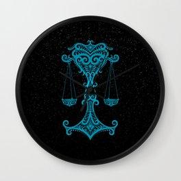 Blue Libra Zodiac Sign in the Stars Wall Clock