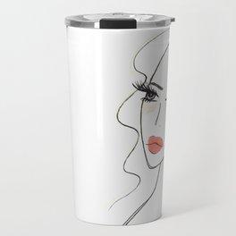 Red lips girl portrait Travel Mug