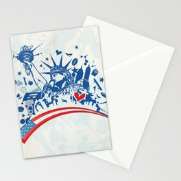 statue of liberty with icon set on flag Stationery Cards