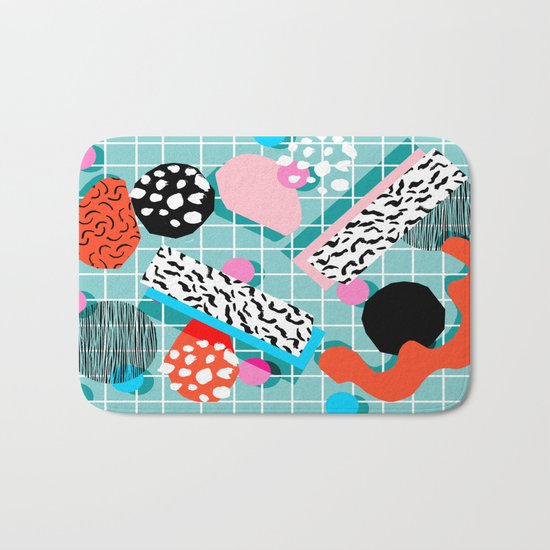 The 411 - wacka abstract memphis grid throwback retro cool neon 80s style minimal mixed media Bath Mat