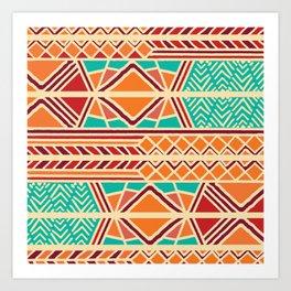 Tribal ethnic geometric pattern 027 Art Print