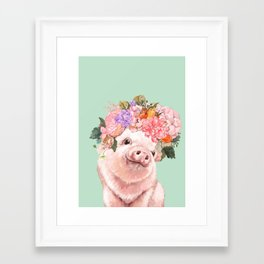 Baby Pig with Flowers Crown in Pastel Green Framed Art Print