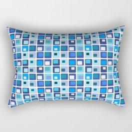 Retro Modern Blue Square Pattern Rectangular Pillow