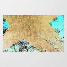 Modern tree sky blue gold brushstroke photography glitch Rug