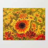 sunflowers Canvas Prints featuring SUNFLOWERS by Vargamari