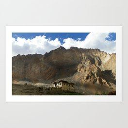 Under the shadows of the moutains Art Print