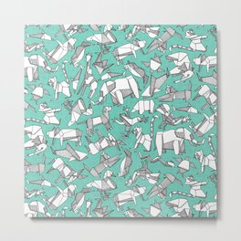 origami animal ditsy mint Metal Print