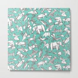 origami animal ditsy mint Metal Print