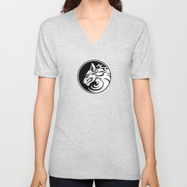 White and Black Growling Wolf Disc Unisex V-Neck