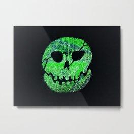 Glow Skull green Metal Print