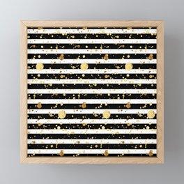 Stripes & Gold Splatter - Horizontal Framed Mini Art Print