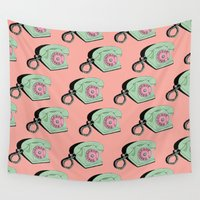 telephone Wall Tapestries featuring Telephone (pink & green) by The Wallpaper Files