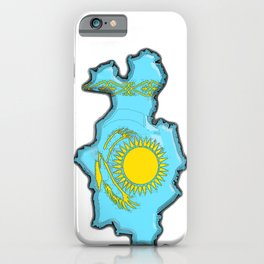 Kazakhstan Map with Kazakh Flag iPhone Case