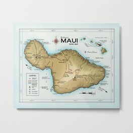 Maui [Atlas Inspired] Points of Interest Road Map Metal Print