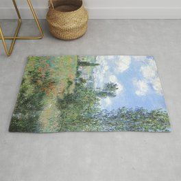View of Vetheuil (1880) by Claude Monet high resolution famous painting Rug