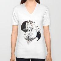 lamb V-neck T-shirts featuring Lamb by Samuel Youn