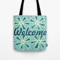 welcome Tote Bags featuring Welcome by Vickn