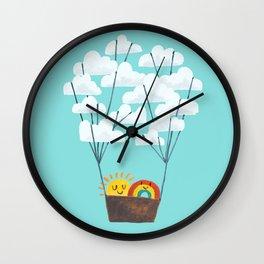 Hot cloud balloon - sun and rainbow Wall Clock