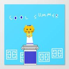 Greek Cat Eating Ice Cream Canvas Print