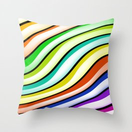 Rainbow Pink Orange Blue Yellows Curved Linear Geometric Pattern Throw Pillow