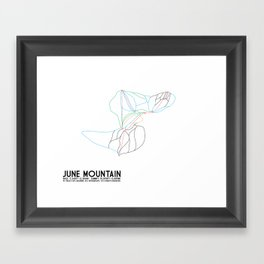 June Mountain, CA - Minimalist Winter Trail Art Framed Art Print