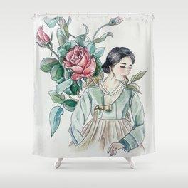 Roses (Hanbok girls) Watercolor Shower Curtain